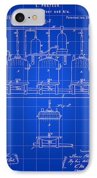 Louis Pasteur Beer Brewing Patent 1873 - Blue IPhone Case by Stephen Younts