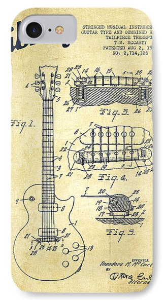 Mccarty Gibson Les Paul Guitar Patent Drawing From 1955 - Vintage IPhone Case by Aged Pixel