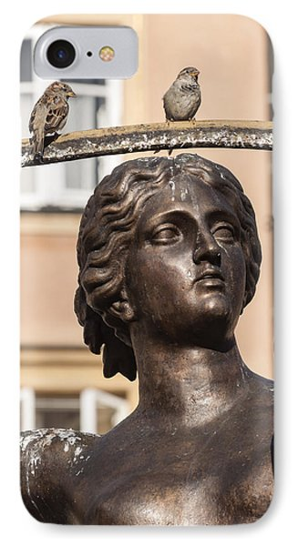 Mermaid Statue In Warsaw. IPhone Case by Fernando Barozza
