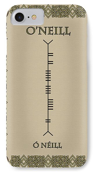 IPhone Case featuring the digital art O'neill Written In Ogham by Ireland Calling