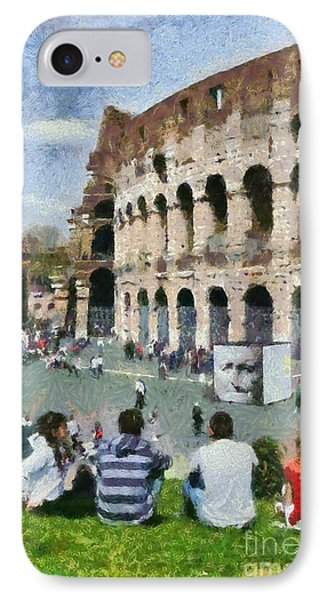 Outside Colosseum In Rome Phone Case by George Atsametakis
