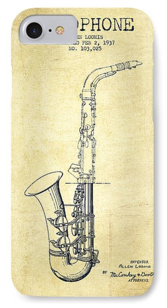 Saxophone Patent Drawing From 1937 - Vintage IPhone 7 Case by Aged Pixel