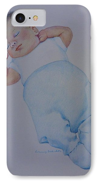 IPhone Case featuring the drawing Sleeping Baby by Constance Drescher