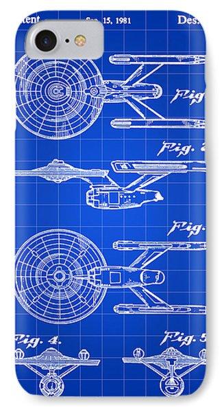 Star Trek Uss Enterprise Toy Patent 1981 - Blue IPhone Case by Stephen Younts