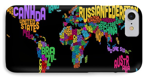 Text Map Of The World Map IPhone Case by Michael Tompsett