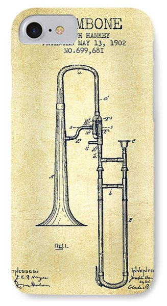 Trombone iPhone 7 Case - Trombone Patent From 1902 - Vintage by Aged Pixel