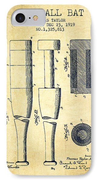 Vintage Baseball Bat Patent From 1919 IPhone Case by Aged Pixel