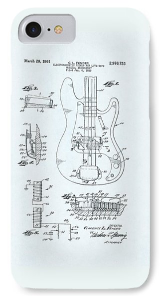 Guitar Patent Drawing On Blue Background IPhone Case