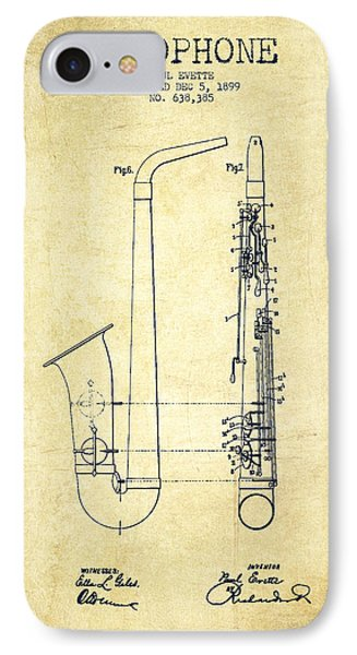 Saxophone Patent Drawing From 1899 - Vintage IPhone 7 Case by Aged Pixel