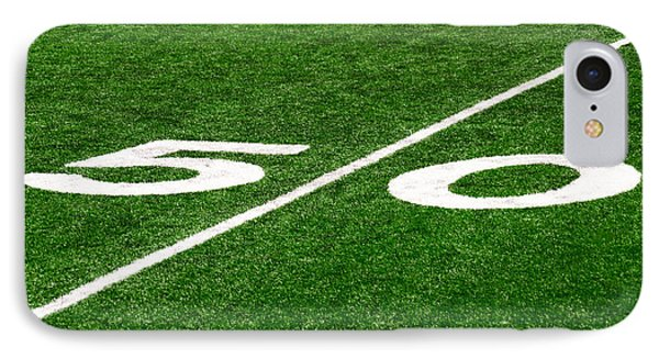 50 Yard Line On Football Field IPhone Case by Paul Velgos