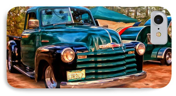 IPhone Case featuring the painting '51 Chevy Pickup With Teardrop Trailer by Michael Pickett