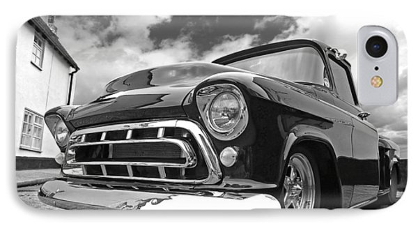 57 Stepside Chevy In Black And White IPhone Case by Gill Billington