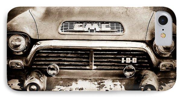 1957 Gmc V8 Pickup Truck Grille Emblem IPhone Case by Jill Reger