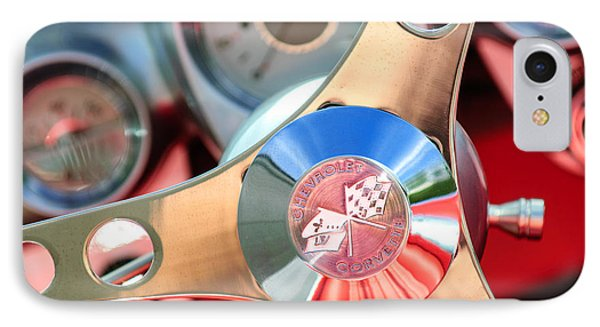 1960 Chevrolet Corvette Steering Wheel Emblem Phone Case by Jill Reger