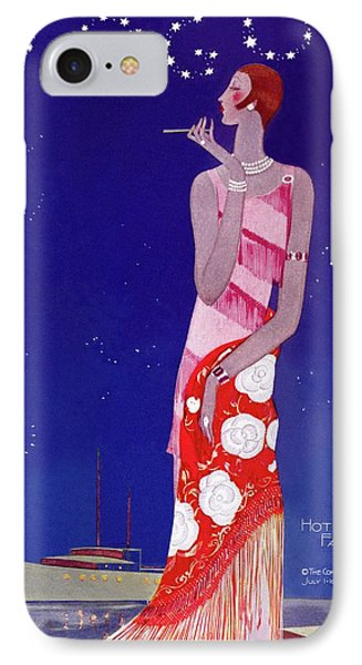 A Vintage Vogue Magazine Cover Of A Woman IPhone Case by Eduardo Garcia Benito