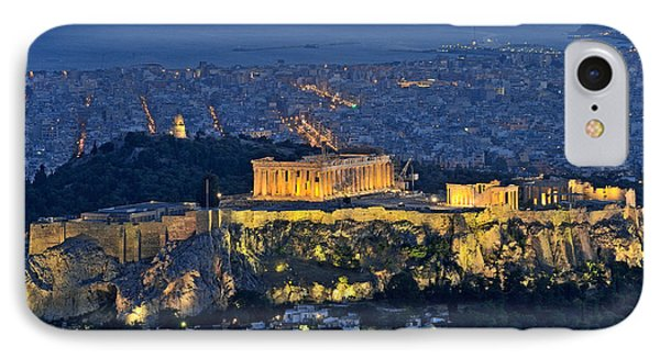 Acropolis Of Athens During Dusk Time IPhone Case by George Atsametakis