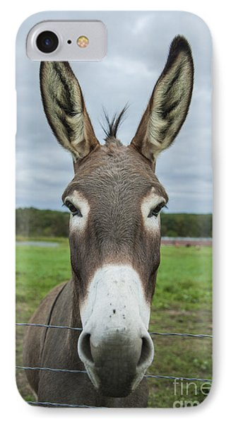 Animal Personalities Friendly Quirky Donkey Face Close Up Phone Case by Jani Bryson