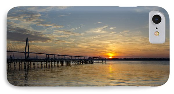Arthur Ravenel Bridge Tranquil Sunset IPhone Case by Dale Powell