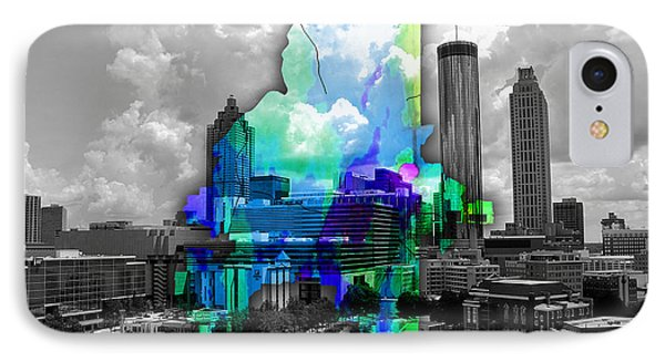 Atlanta Map And Skyline Watercolor IPhone Case by Marvin Blaine
