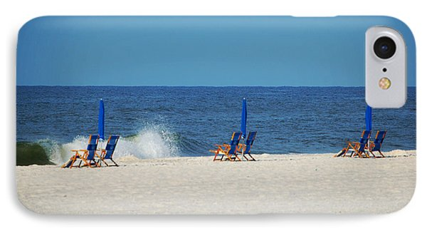 6 Chairs And Umbrella IPhone Case by Michael Thomas