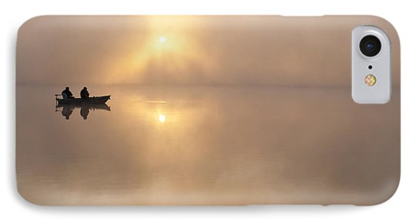 Fisherman In Boat, Lake Cassidy IPhone Case by Jim Corwin