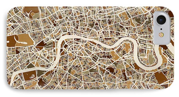 London England Street Map IPhone Case by Michael Tompsett