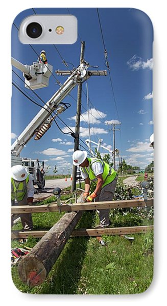 Repairing Power Lines IPhone Case by Jim West
