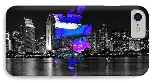 San Diego California Map And Skyline IPhone Case by Marvin Blaine