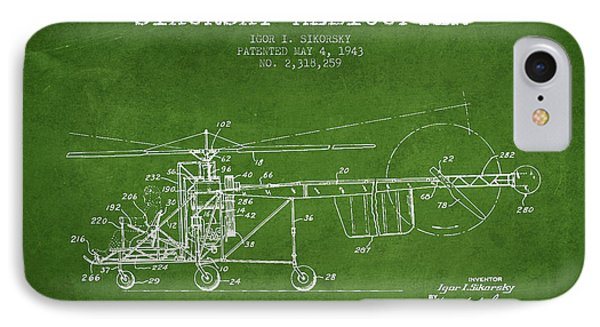Helicopter iPhone 7 Case - Sikorsky Helicopter Patent Drawing From 1943 by Aged Pixel
