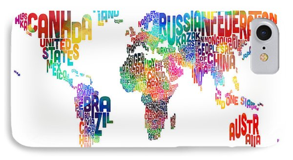 Text Map Of The World IPhone Case