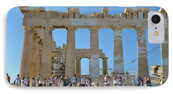 Tourists In Acropolis Of Athens In Greece IPhone Case by George Atsametakis