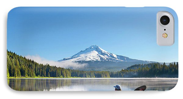 Usa, Oregon A Woman In A Sea Kayak IPhone Case by Gary Luhm