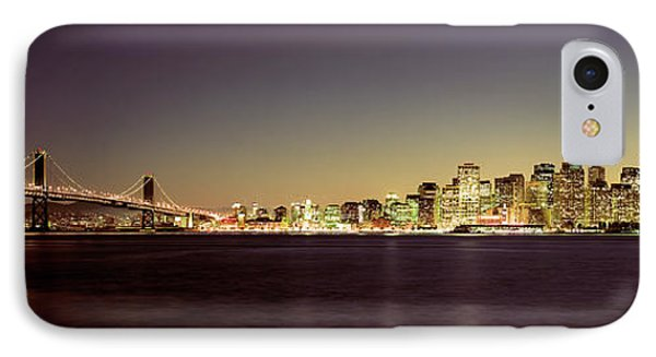 Bridge Across A Bay With City Skyline IPhone Case by Panoramic Images