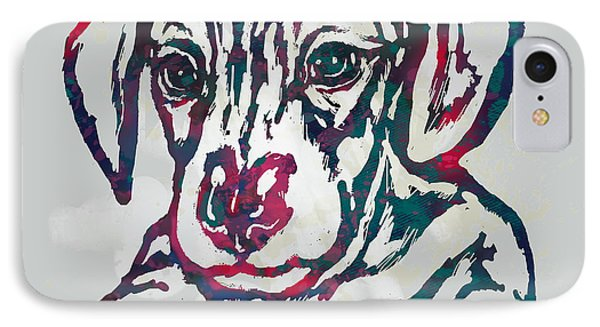 Dog Stylised Pop Modern Etching Art Portrait IPhone Case by Kim Wang
