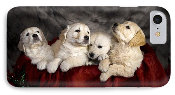Festive Puppies Phone Case by Angel  Tarantella