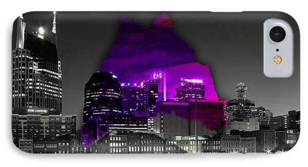Nashville Skyline And Map Watercolor IPhone Case by Marvin Blaine
