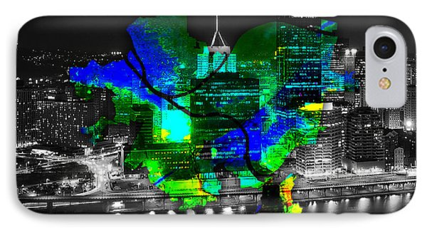 Pittsburgh Map And Skyline Watercolor IPhone Case