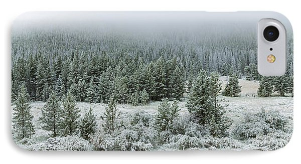 Trees On A Snow Covered Landscape IPhone Case