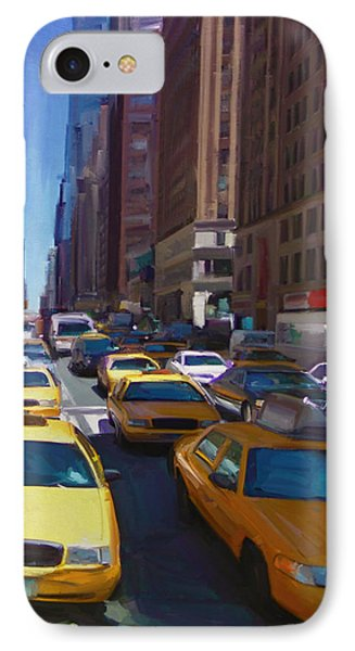 IPhone Case featuring the painting 7th Avenue W36th Street Nyc by Nop Briex