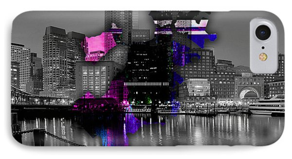 Boston Map And Skyline Watercolor IPhone Case by Marvin Blaine