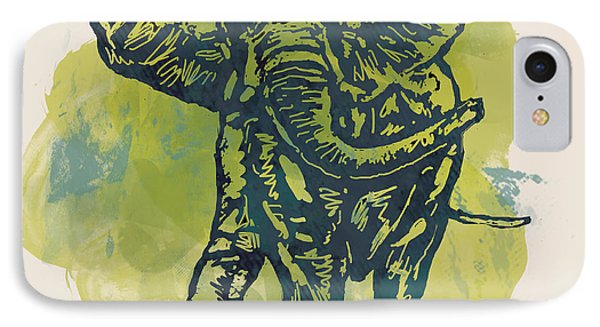 Elehpant Stylised Pop Art Drawing Portrait Poster IPhone Case