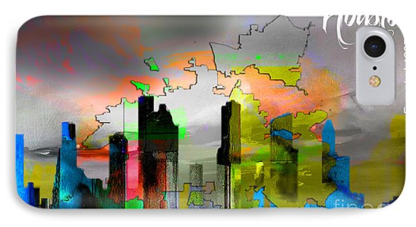 Houston Map And Skyline Watercolor IPhone Case