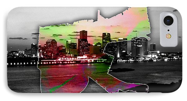 New Orleans Map And Skyline Watercolor IPhone Case by Marvin Blaine