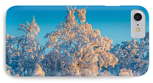 Trees In The Frozen Landscape, Cold IPhone Case by Panoramic Images