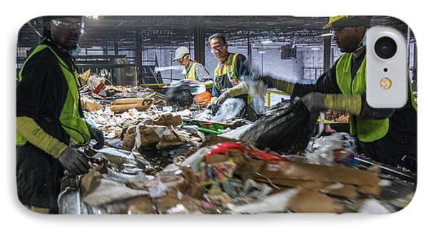 Waste Sorting At A Recycling Centre IPhone Case by Peter Menzel