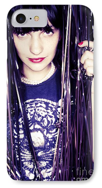 80's Retro Funky Girl Portrait Phone Case by Eldad Carin