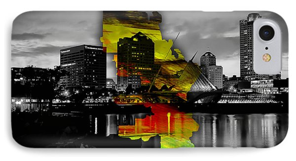 Milwaukee Map And Skyline Watercolor IPhone Case by Marvin Blaine