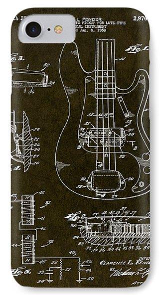 1961 Fender Bass Pickup Patent Art IPhone Case