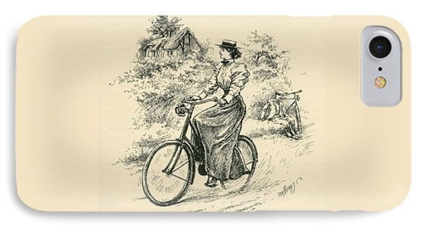 A 19th Century Female Cyclist IPhone Case by English School