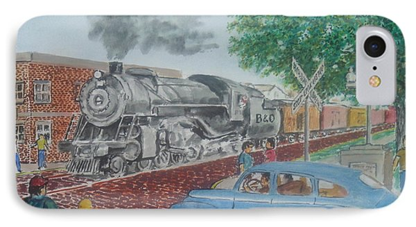 A Baltimore And Ohio Freight Passes Tracy Park Portsmouth Ohio IPhone Case by Frank Hunter